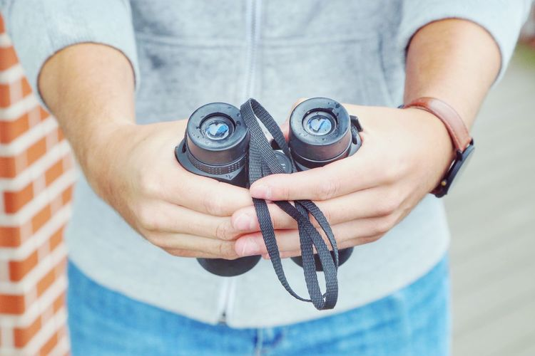 Jeans Man Binoculars Blue Close-up Day Hipster Human Hand Looking Men Midsection One Person Outdoors People Real People Searching Watch Watching
