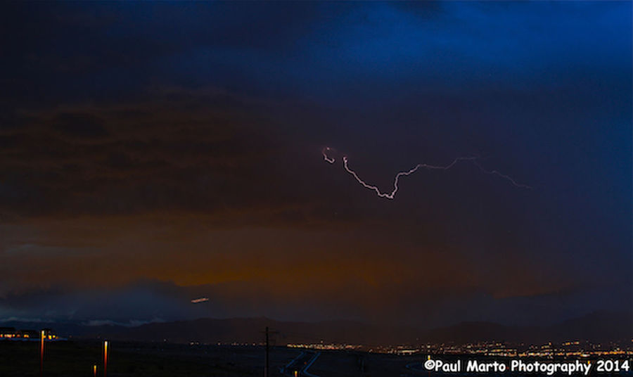 West Jordan Lightning right as the sun was setting Check This Out Lightning And Thunder Lightning Strikes Stormy Evening
