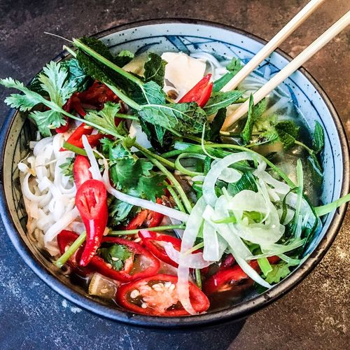 Chicken Phø Vegetable Healthy Eating Food Food And Drink No People Freshness Bowl High Angle View Chopsticks Green Color Indoors  Close-up Red Ready-to-eat Day Pho Noodlesoup Yum Broth Londonfood