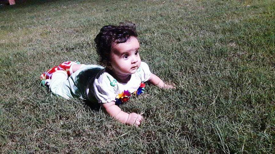 Cute baby play in garden lawn Child Grass