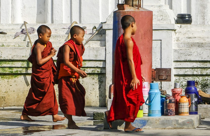 Monks 2010 ASIA Buddha Buddhism Buddhist Buddhist Monks Burma Monastery Monk  Myanmar Pentax Person Red Red Color Religion Streetphotography Togetherness Traveling Young Adult