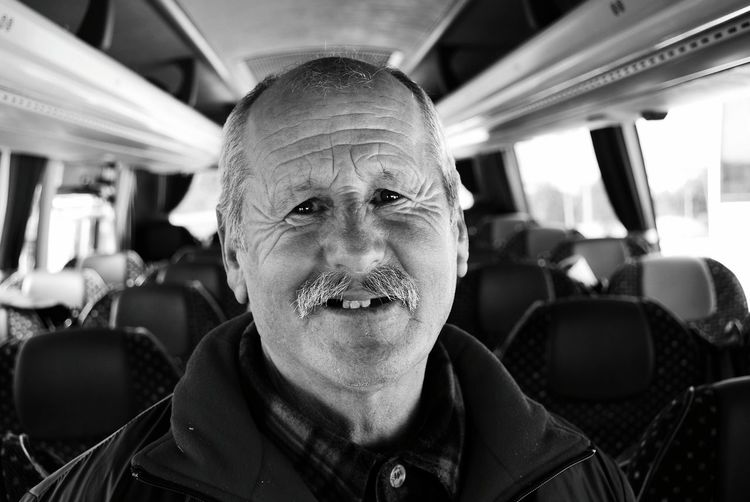 Portrait Of Man In Bus
