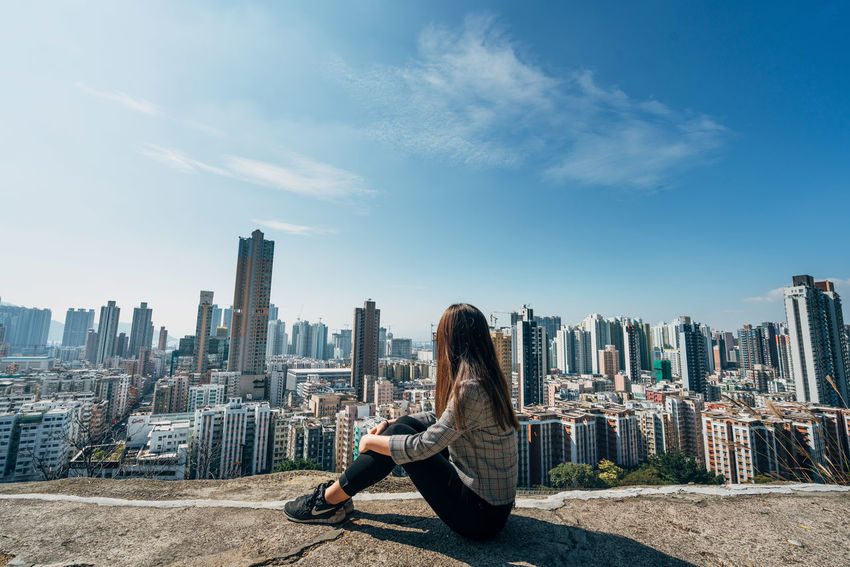 Architecture City Hong Kong Sitting Well Dressed Woman Blue Sky Buildings City View  Sky Young Adult