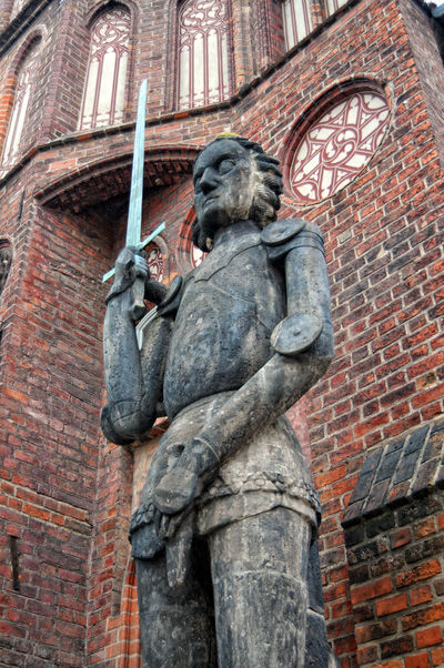 old town hall of Brandenburg an der Havel (Germany) with the ancient roland statue. Architecture Art Brandenburg Brandenburg An Der Havel Built Structure Carving - Craft Product Creativity Day Germany Low Angle View No People Outdoors Roland Sculpture Sky Statue