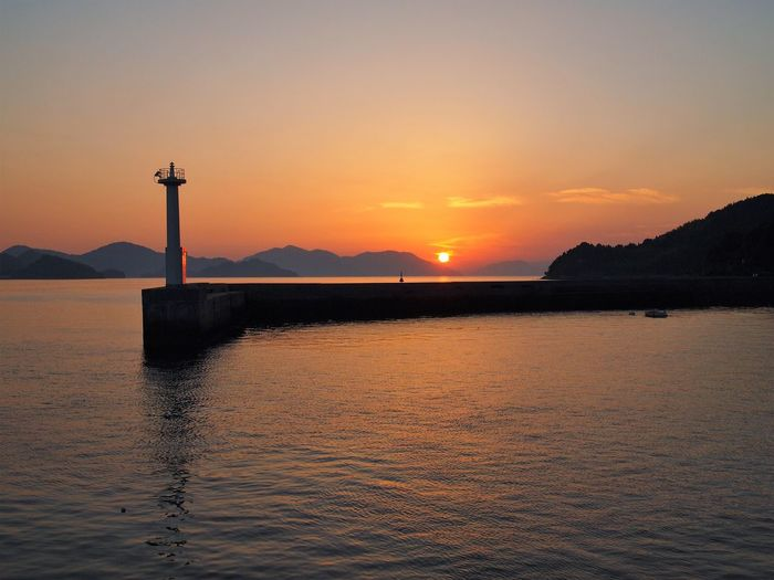 Osaki-kamishi Perspectives On Nature Beauty In Nature Horizon Over Water Lighthouse Sea Sunset Water Waterfront