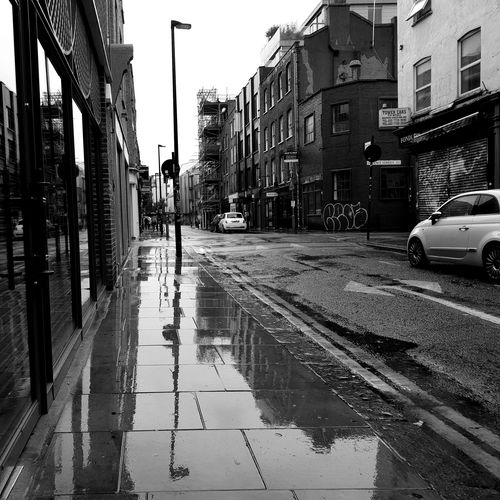 Redchurch Shoreditch London Blackandwhite B&w B&w Photography Minimalism Perspective LONDON❤ City Car Street Land Vehicle Sky Architecture Building Exterior Rainy Season
