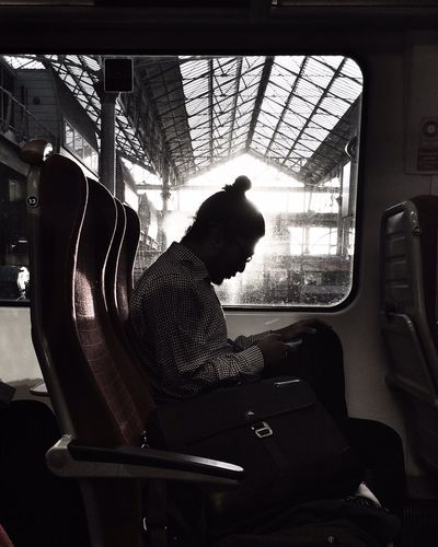 IPSSilhouette i phone man on the train IPhoneography The Human Condition My Daily Commute