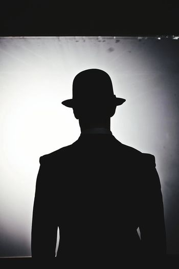 Back A Man Hat A Man With A Hat Model Pose Model Monotone Black And White Shillouette Black Hat Black Suit