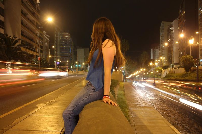 2012 City Street Light City Life Street Light Trail Long Hair City Street Transportation Young Women Long Exposure Building Exterior Outdoors Adult Built Structure One Young Woman Only Road EyeEmNewHere