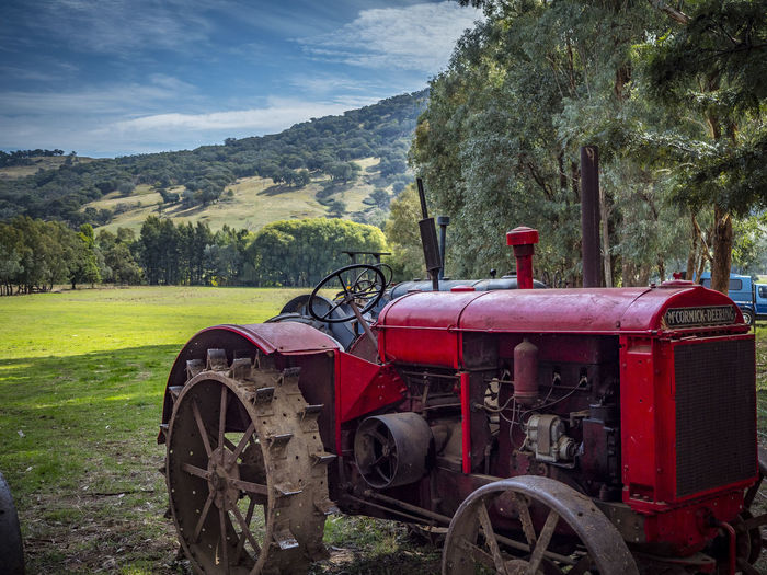 Agriculture Bright Bright Colors Farm Life Red Steam Engine Tractor Abandoned Agricultural Agricultural Machinery Country Life Countryside Field Old-fashioned Red Rusty