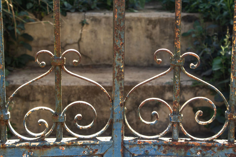 Close-up of rusty metal fence