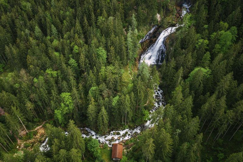 Aerial image of beautiful waterfalls in golling, salzburg, austria