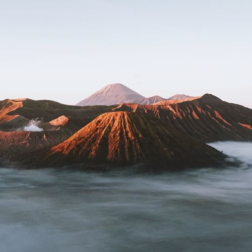 Scenic view of volcano against clear sky