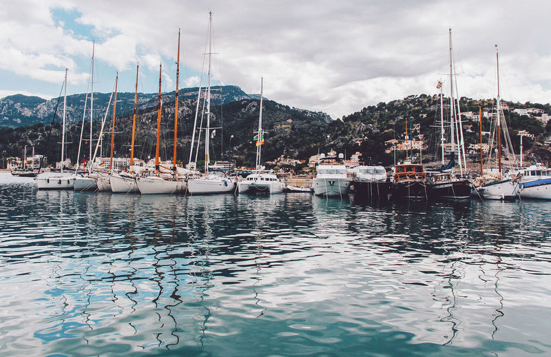 Beauty In Nature Boat Cloud Cloud - Sky Cloudy Day Harbor Majorca Mallorca Marina Mast Mode Of Transport Mountain Nature Nautical Vessel No People Outdoors Port De Sóller Rippled Sailboat Scenics Sky Tranquil Scene Tranquility Water