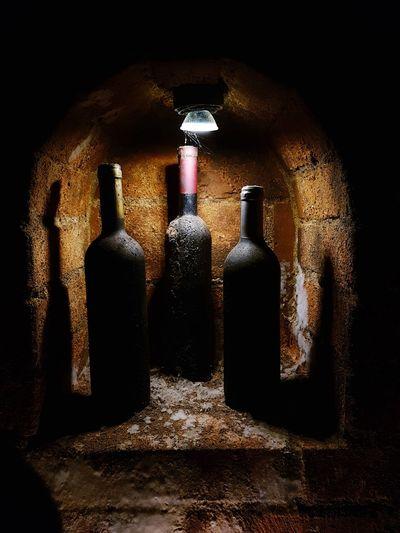 wine bottles in