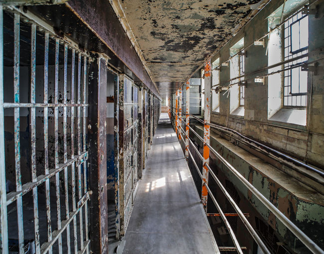 Dark Colorful Dirty Grim No People Prison Bars Prison Cell Wide Angle