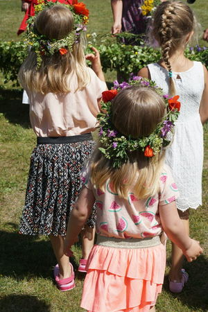 Mittsommar in Sweden Blond Hair Bonding Celebration Childhood Day Elementary Age Floral Flower Friendship Front Or Back Yard Girls Grass Lawn Leisure Activity Lifestyles Midsummer Mittsommar Mittsommer Outdoors People Real People Rear View Summer Togetherness Well-dressed Sommergefühle
