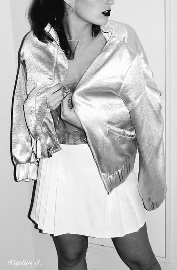 C pose BW Black And White Black And White Collection  Black And White Photography Black And White Portrait Fashion Fashion Girl Indoors  Indoors  Jacket Lifestyles Modern Mood One Person Outfit Pic Silver  Woman Young Adult Young Women