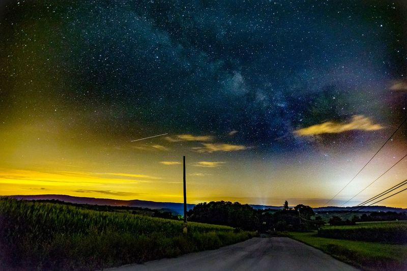 Dramatic Sky Star - Space Night Road Milky Way Cloud - Sky Sky The Way Forward Nature Tranquility No People Outdoors Beauty In Nature Scenics Landscape Astronomy Galaxy Tree Light Pollution Lost In The Landscape