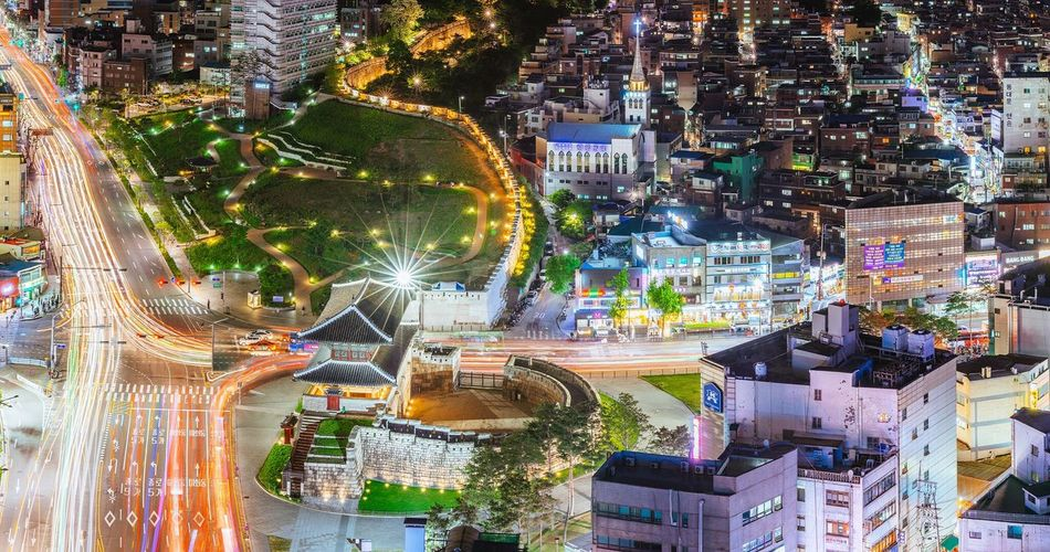 Seoul Korea Dongdaemun City Night Landscape Cityscape Night View Nightscape Panorama with Sony A7R and Canon EF100-400 F4.5-5.6L IS II USM