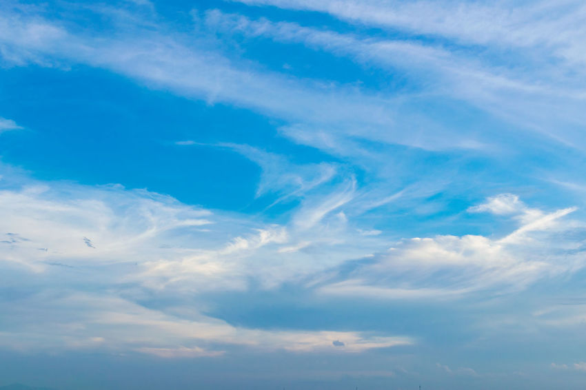 A beautiful sky and clouds Backgrounds Beauty In Nature Blue Cloud Cloud - Sky Cloudscape Cloudy Day Full Frame Idyllic Low Angle View Majestic Nature No People Outdoors Scenics Sky Sky Only Softness Tranquil Scene Tranquility Weather White
