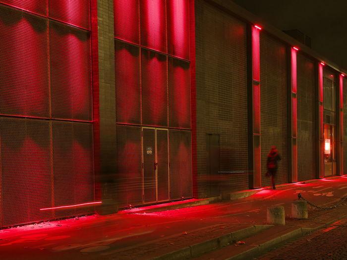 Illuminated red lights at home