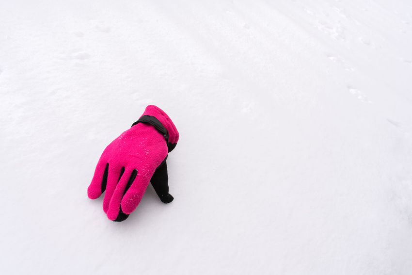 One single pink gove on snow Winter Snow Cold Temperature Glove Copy Space No People White Color Pink Color Warm Clothing Clothing Grasp Single Hand One Hand Velvet Cold Protection