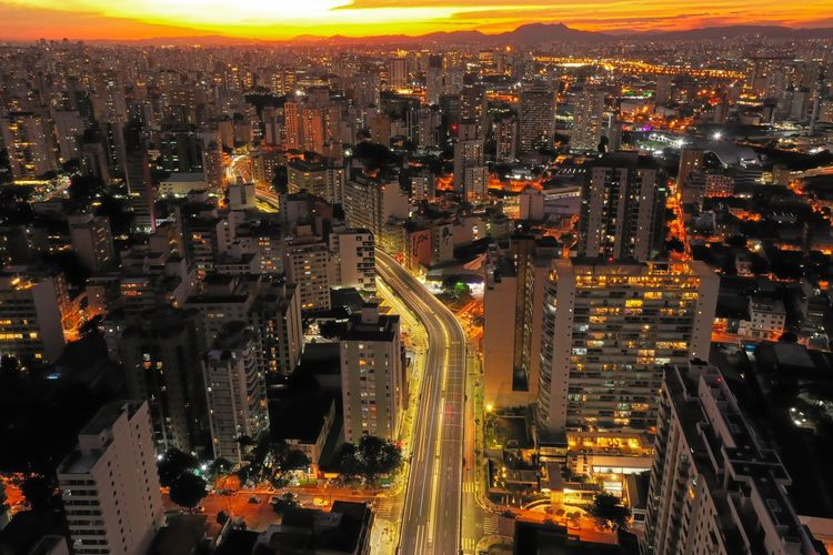 Aerial landscape of city life scene.