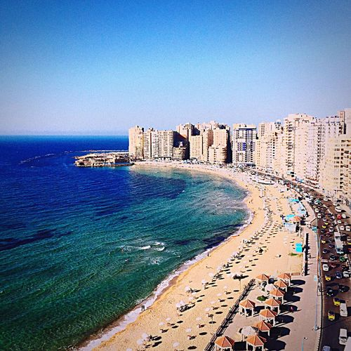 Architecture Sea Clear Sky Building Exterior Beach Blue Built Structure Travel Destinations History Fort Day Outdoors Castle Water Sand No People Nature Sky Alexandria Egypt