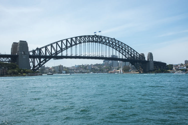 Sydney harbour bridge over sea in city
