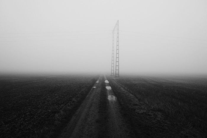 Landscape Field No People Fog Electricity  Tranquility Shades Of Winter