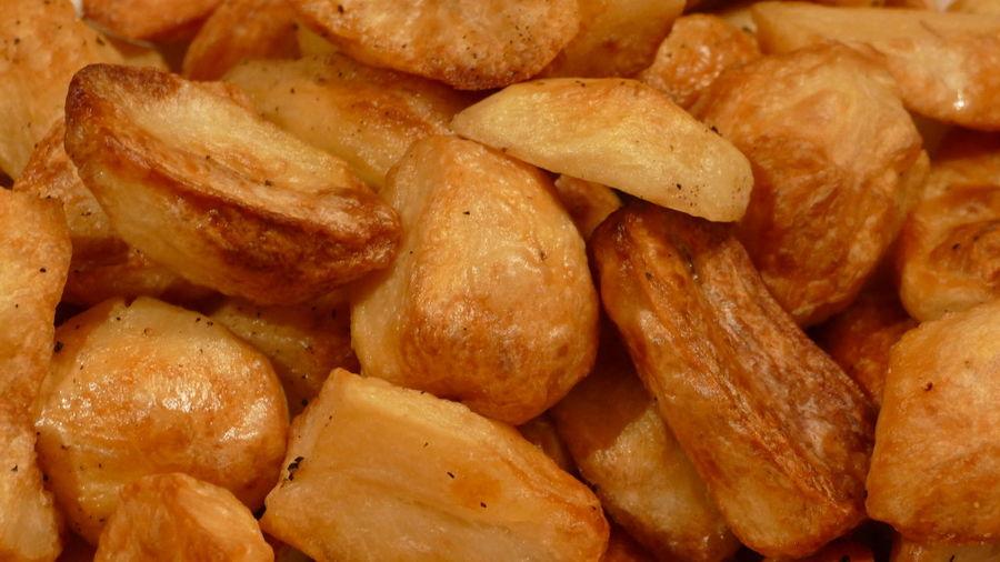 Full frame shot of fried potatoes