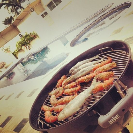 Grill by the pool at my parent's FamilyLove Sharjah Webergrills Provincalprawns cestlavie ❤️❤️❤️❤️❤️❤️