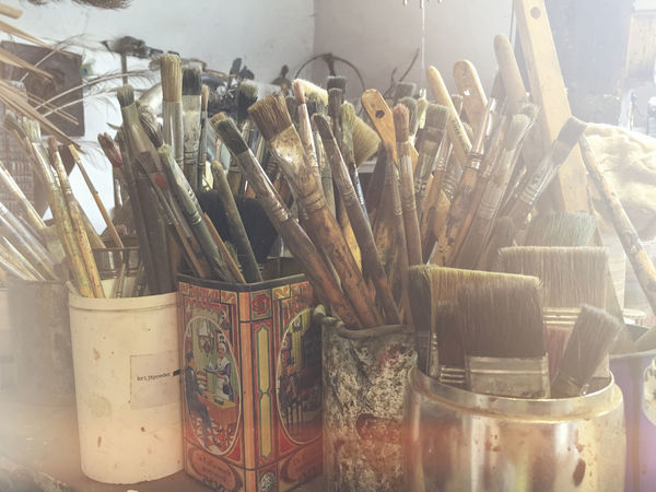 Paintbrushes in pots and cans in studio of artist Abundance Arrangement Art Art And Craft Artist Atelier Brushes Bunch Close-up Container Equipment Group Grunge Hobby Jar Large Group Of Objects Oilpainting Paint Brushes Painter Painting Rustic Studio Studio Shot Used