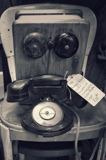 Old Telephone and Ringer Black And White Photography Old Telephone Stromberg Technology Indoors  No People Close-up Retro Styled Communication High Angle View Antique Old Table Single Object Equipment