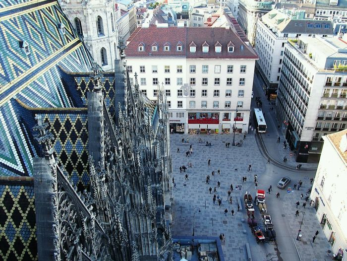 High angle view of stephansplatz from the stephansdom nordturm in vienna, austria