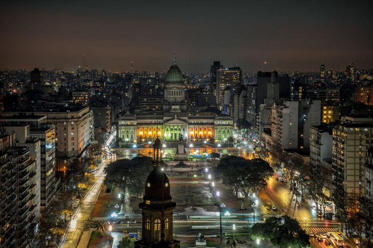 Illuminated national congress of argentina and cityscape at night