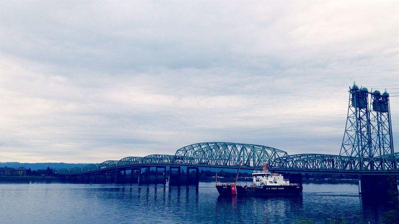 Architecture Bridges Columbia River Boats Cloud Cover Portland Vancouver Washington Urban Geometry