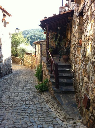 typical Portuguese stone cottage Portuguese Cobbled Street Architecture Building Exterior No People Staircase Stone Cottage Typical Portuguese Village