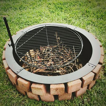 Circle Metal Grate Outdoors High Angle View Camping Trip Campinglife Campground Firepit Fire Pit Backyard Firepit Backyard Photography Backyard