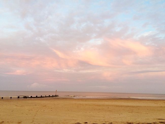 Sunset Autumn Beach Uk Mablethorpe Sandy