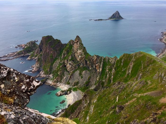 Sea Water Nature Scenics Tranquility Beauty In Nature Rock - Object No People High Angle View Tranquil Scene Cliff Beach Day Outdoors Landscape Blue Mountain Sky Adventure Norway Hiking Lofoten Leisure Activity Beauty In Nature Tranquility