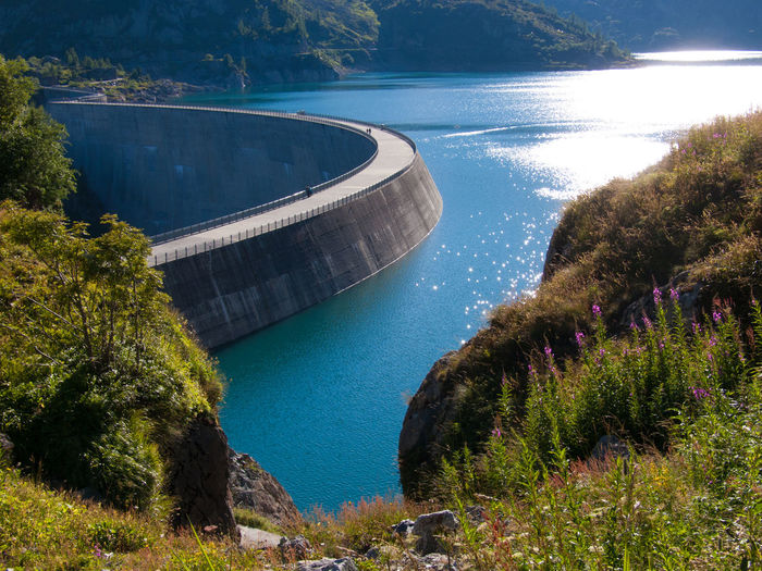 barrage d'emosson,valais,swiss Beauty In Nature Dam Day Hydroelectric Power Nature No People Outdoors Reservoir Scenics Tree Water