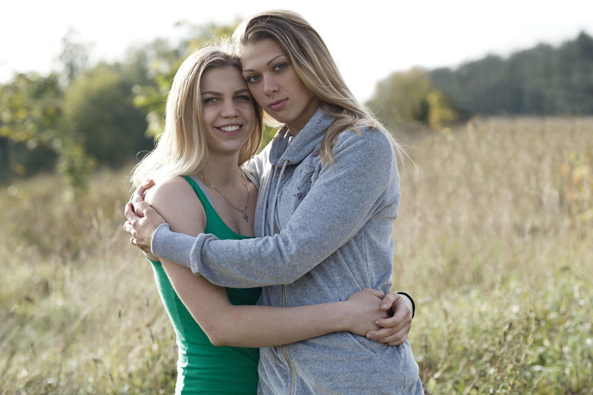 Beautiful Caucasian Couple Friend Friendship Green Hug Hugging Leisure Love Nature Outdoors Park Person Romance Sharing  Smile Two Women Young
