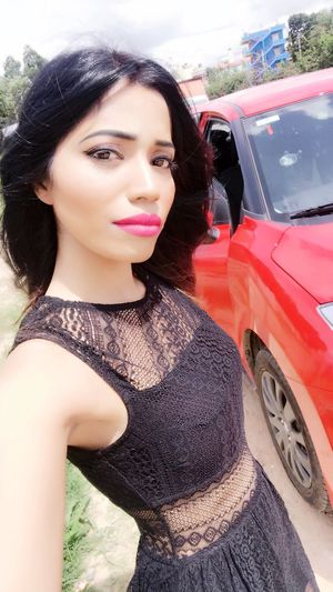 Looking At Camera One Person Beautiful Woman Car Portrait Outdoors Lifestyles Standing Close-up Fashion Women Glamour Tanyasingh Models Elégance Actress Tanya Singh Tanya Singh Black Hair Posing Beauty Pink Lipstick  Modern Long Hair Casual Clothing