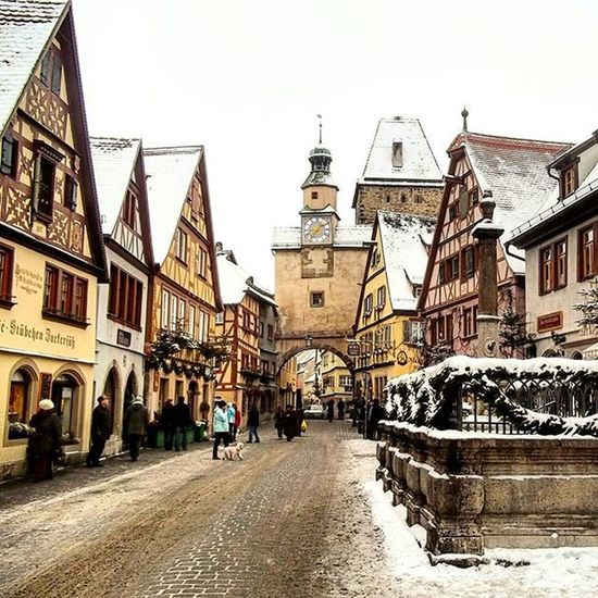Europe Germany Rothenburg Street Winter Amazing Architecture Dream People Amazing View Colorful Place Cool Snow Mood History Instatravel Trip Instagood Vscocam VSCO