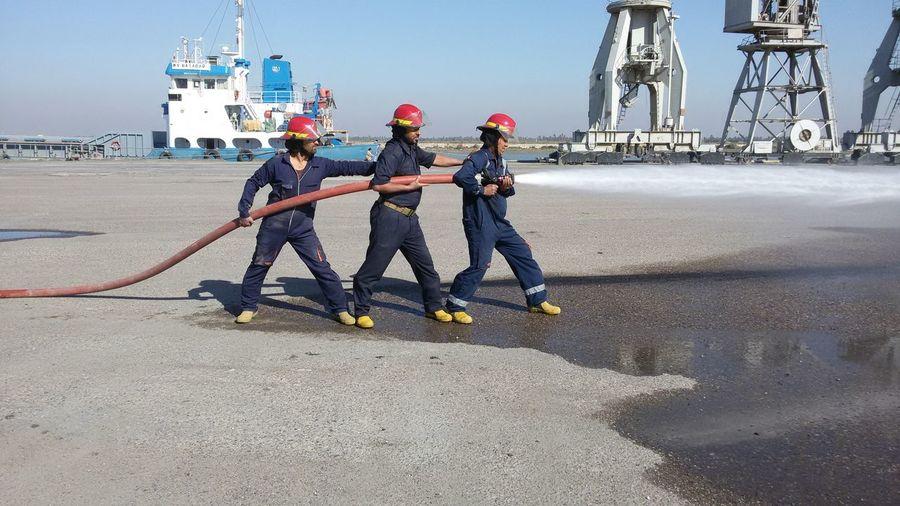 Fireman Port of Al Basrah Iraq Trining Ship Extenguisher