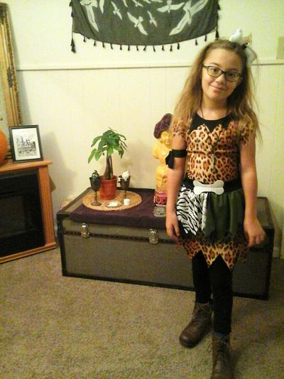 Halloween dress up day at school. Cavegirl Nobrushnoproblem