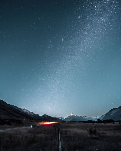 New Zealand NZ Mount Cook Mount Cook National Park Night Road Stars Milky Way Long Exposure Road Trip Nature Mountain Sky Star - Space Space Galaxy Outdoors Mountain Peak