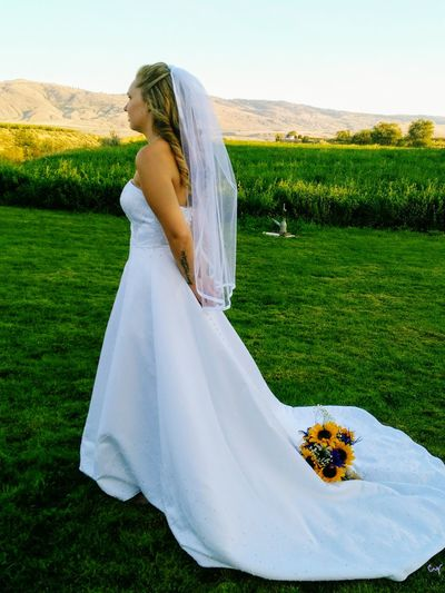 Beautiful Bride Women Adult Wedding Grass Bride Young Adult Wedding Dress People Young Women Adults Only Only Women One Person Human Body Part One Woman Only Outdoors Day Veil Life Events Landscape One Young Woman Only Liv'n The Dream Sky Blonde Hair View From Behind Flowers The Week On EyeEm A New Beginning